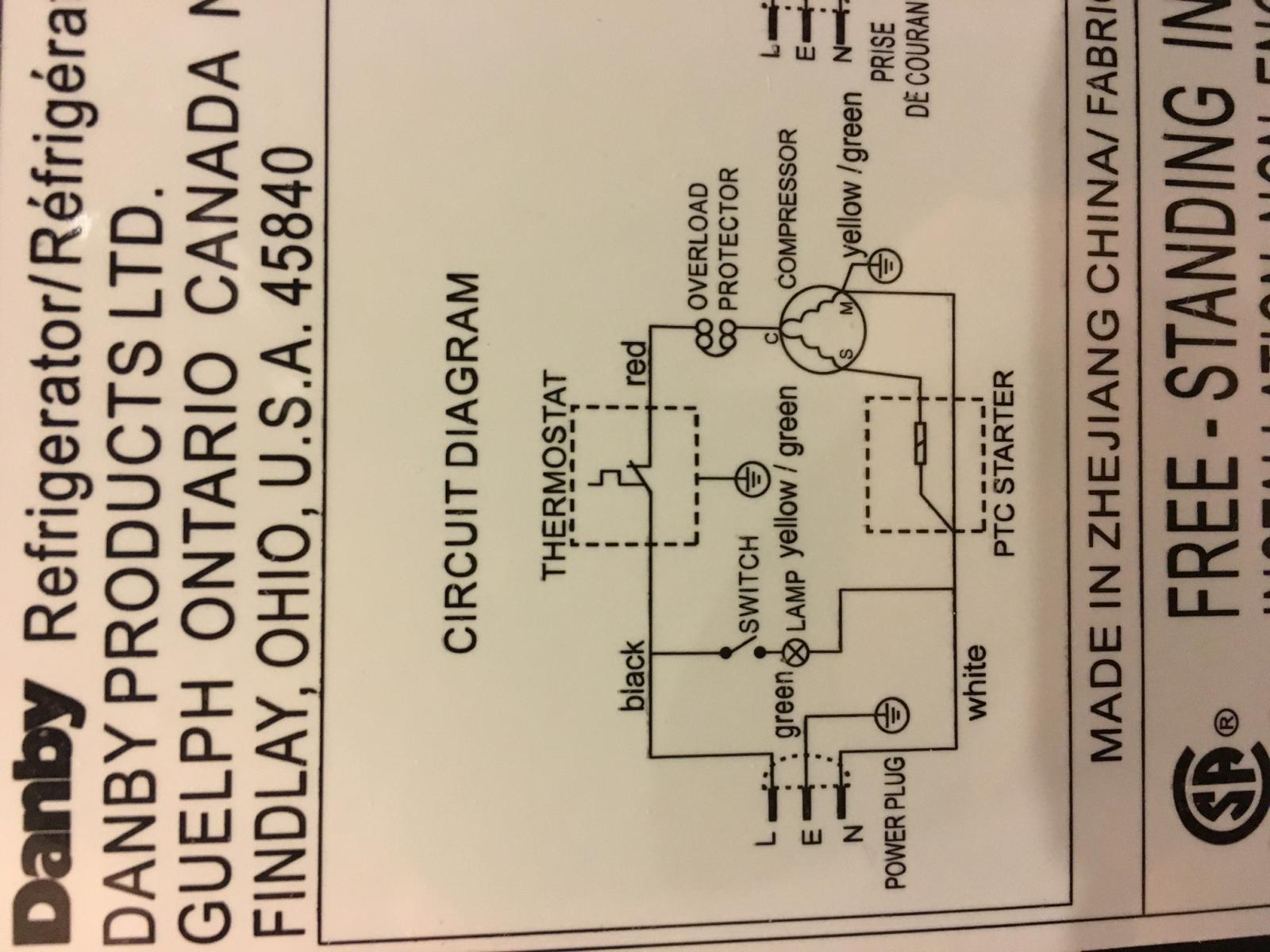 Danby Wiring Diagram on